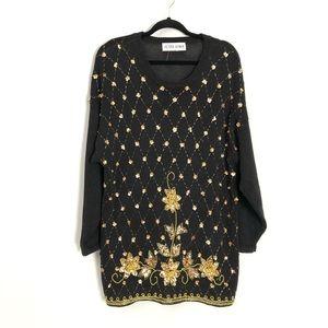 Vintage gold beaded sweater dress!!